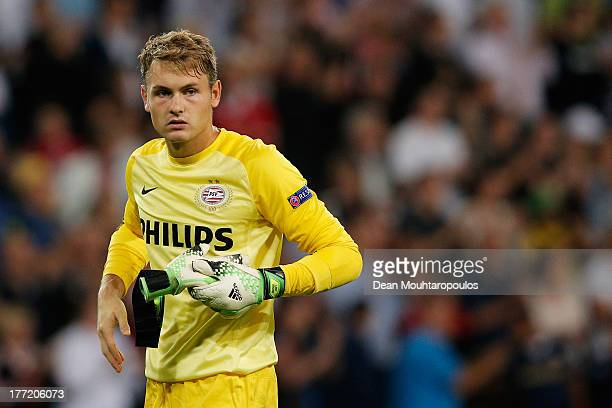 Goalkeeper Jeroen Zoet of PSV looks on after the UEFA Champions League Playoff First Leg match between PSV Eindhoven and AC Milan at PSV Stadion on...