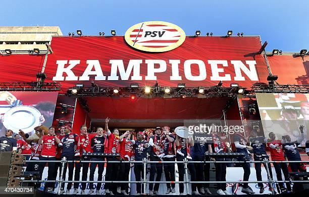 Goalkeeper Jeroen Zoet of PSV Nicolas Isimat of PSV Karim Rekik of PSV Santiago Arias of PSV Jeffrey Bruma of PSV Adam Maher of PSV Memphis Depay of...