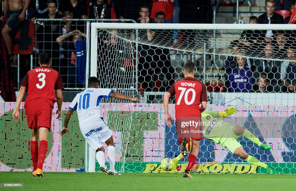Goalkeeper Jesper Hansen of FC Midtjylland saves the penalty kick from Alex of Apollon Limassol FC during the UEFA Europa League Playoff 2nd Leg match between FC Midtjylland and Apollon Limassol at MCH Arena on August 24, 2017 in Herning, Denmark.