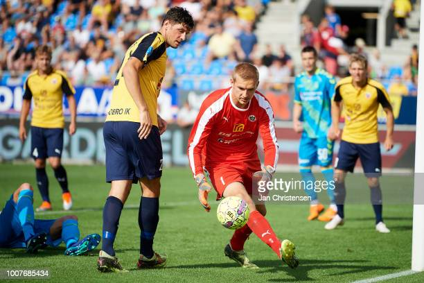 Goalkeeper Jesper Rask of Hobro IK in action during the Danish Superliga match between Hobro IK and Brondby IF at DS Arena on July 29 2018 in Hobro...