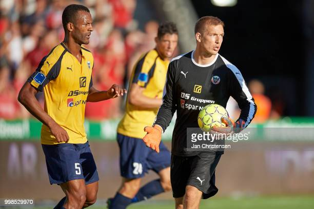 Goalkeeper Jesper Rask of Hobro IK in action during the Danish Superliga match between Vejle Boldklub and Hobro IK at Vejle Stadion on July 13 2018...