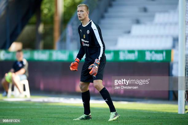 Goalkeeper Jesper Rask of Hobro IK looks on during the Danish Superliga match between Vejle Boldklub and Hobro IK at Vejle Stadion on July 13 2018 in...