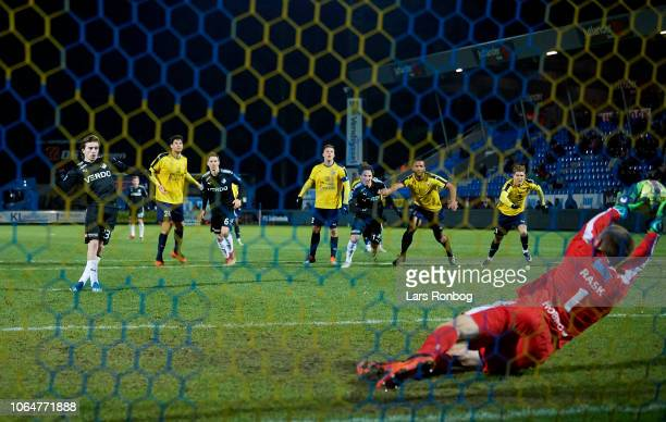 Goalkeeper Jesper Rask of Hobro IK saves the penalty from Saba Lobzhanidze of Randers FC during the Danish Superliga match between Hobro IK and...