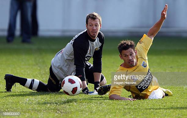 Goalkeeper Jess Van Strattan and Padj Bojic of the Mariners can only watch as the ball rolls into the goal during the round three ALeague match...
