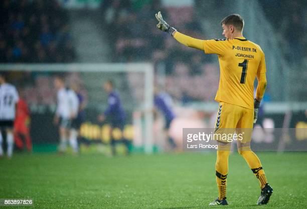 Goalkeeper Jesse Joronen of AC Horsens gestures during the Danish Alka Superliga match between FC Midtjylland and AC Horsens at MCH Arena on October...