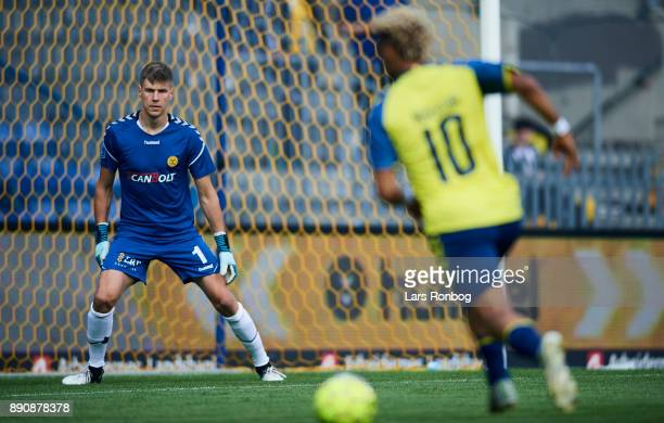 Goalkeeper Jesse Joronen of AC Horsens in action during the Danish Alka Superliga match between Brondby IF and AC Horsens at Brondby Stadion on...