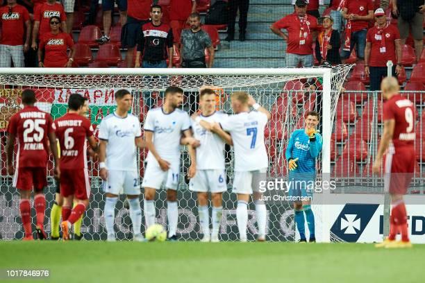 Goalkeeper Jesse Joronen of FC Copenhagen gives instructions during the UEFA Europa League Qualification match between FC Copenhagen and CSKA Sofia...