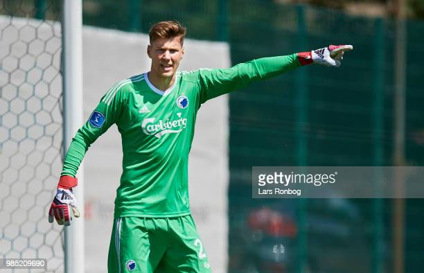Goalkeeper Jesse Joronen of FC Copenhagen in action during the friendly match between FC Copenhagen and Lyngby Boldklub at KB's baner on June 27 2018...