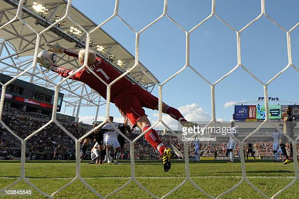 Goalkeeper Jimmy Nielsen Kansas City Wizards makes a save during the game against the Philadelphia Union at PPL Park on September 4 2010 in Chester...