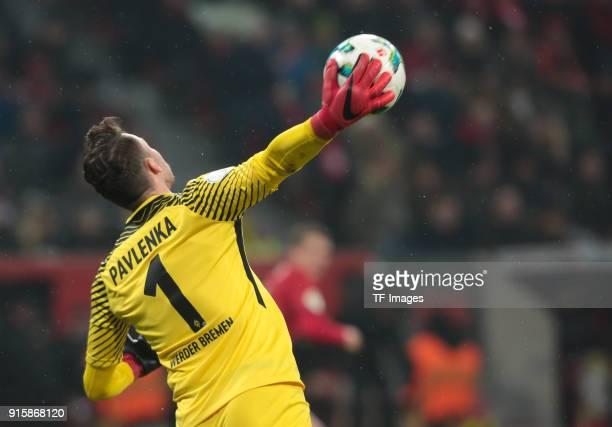 Goalkeeper Jiri Pavlenka of Bremen controls the ball during the DFB Cup match between Bayer Leverkusen and Werder Bremen at BayArena on February 6...