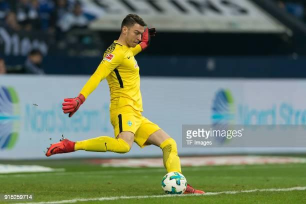 Goalkeeper Jiri Pavlenka of Bremen controls the ball during the Bundesliga match between FC Schalke 04 and SV Werder Bremen at VeltinsArena on...