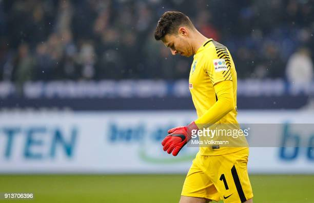 Goalkeeper Jiri Pavlenka of Bremen disappointed at the halftime during the Bundesliga match between FC Schalke 04 and SV Werder Bremen at...