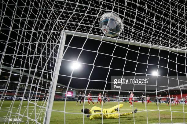 Goalkeeper Jiri Pavlenka of Bremen fails to prevent a goal during the Bundesliga playoff second leg match between 1. FC Heidenheim and Werder Bremen...