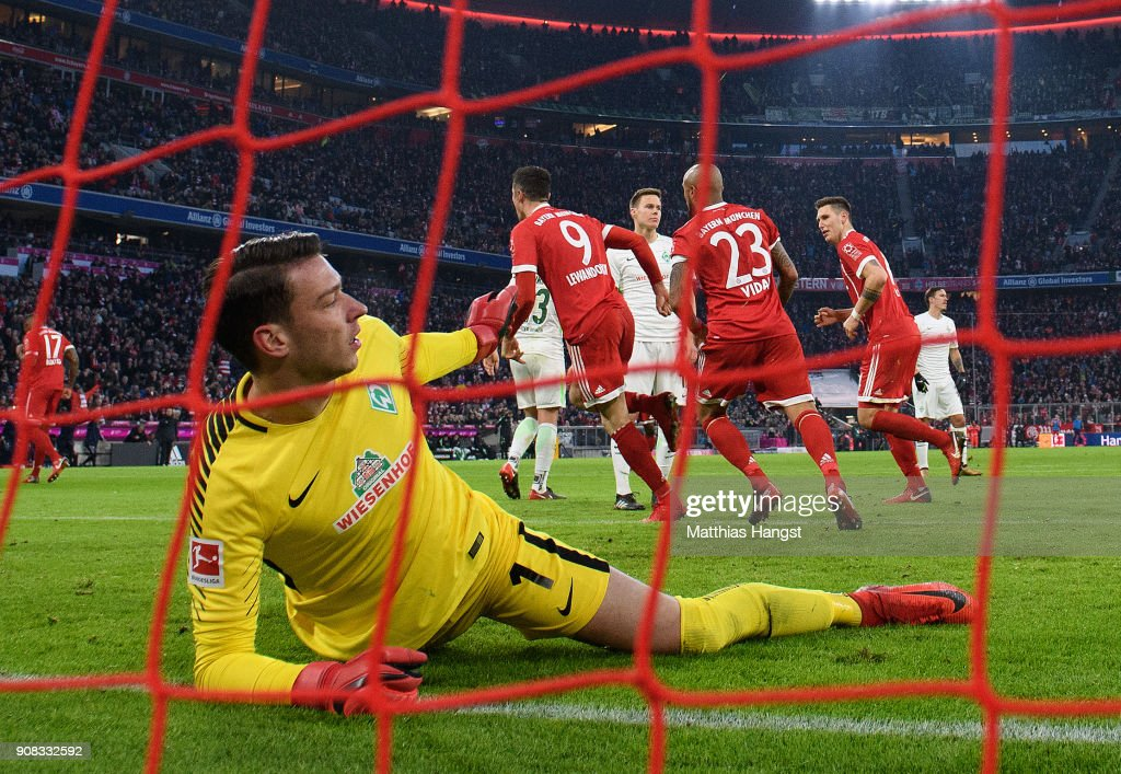 Goalkeeper Jiri Pavlenka of Bremen reacts after Robert Lewandowksi of FC Bayern Muenchen scored his team's second goal during the Bundesliga match between FC Bayern Muenchen and SV Werder Bremen at Allianz Arena on January 21, 2018 in Munich, Germany.