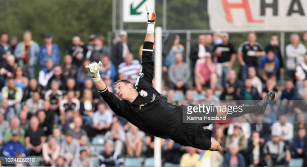 Goalkeeper Jo Coppens of Jena reacts during the third Liga match between FC Carl Zeiss Jena and FSV Zwickau at Ernst-Abbe-Sportfeld on August 27,...