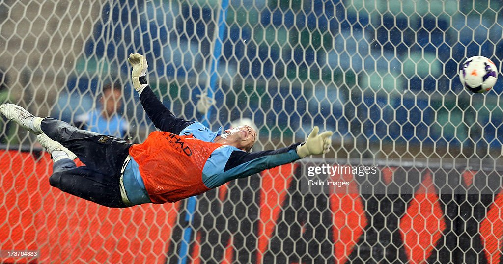 Goalkeeper Joe Hart of Manchester City during the Manchester City training session at Moses Mabhida Stadium on July 17, 2013 in Durban, South Africa. (Photo by Steve Haag/Gallo Images/Getty Images))