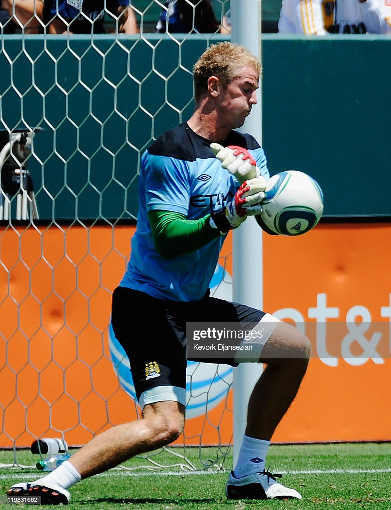 Goalkeeper Joe Hart #25 of Manchester City during warmups against Los Angeles Galaxy during the Herbalife World Football Challenge 2011 friendly soccer match at the Home Depot Center on July 24, 2011 in Carson, California
