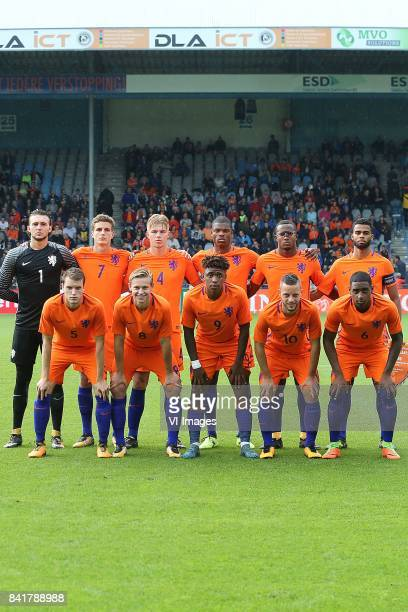 goalkeeper Joel Drommel of Holland U21 Guus Til of Holland U21 Rick van Drongelen of Holland U21 Denzel Dumfries of Holland U21 Gervane Kastaneer of...