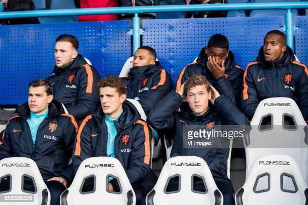 goalkeeper Joel Drommel of Jong Oranje Jairo Riedewald of Jong Oranje Pablo Rosario of Jong Oranje Gervane Kastaneer of Jong Oranje Justin Hoogma of...