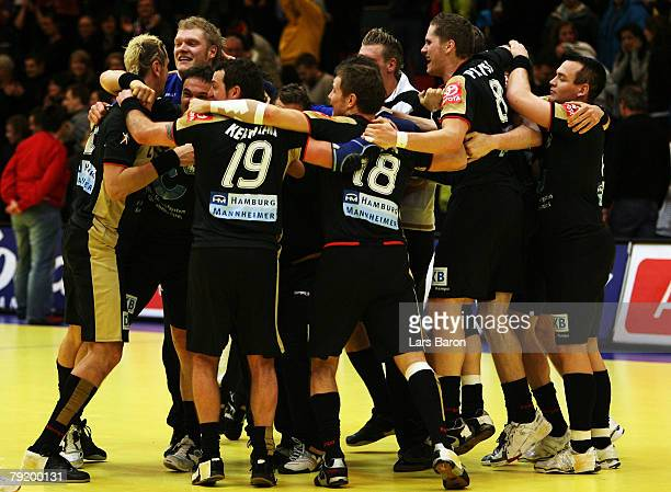 Goalkeeper Johannes Bitter of Germany celebrates with his team mates after winning the Men's Handball European Championship main round Group II match...