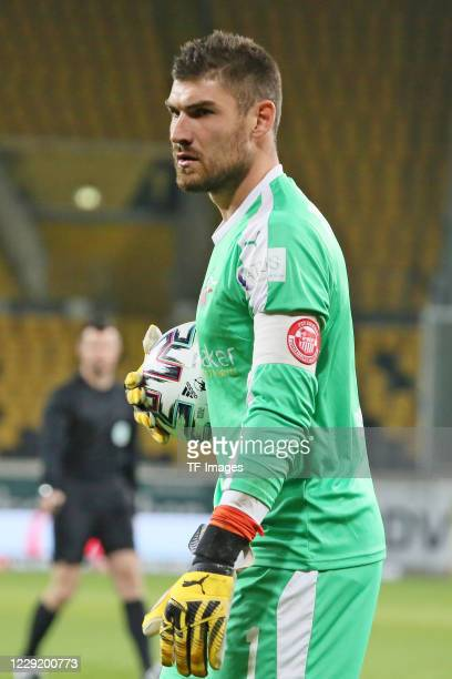 goalkeeper Johannes Brinkies of FSV Zwickau looks on during the 3 Liga match between Dynamo Dresden and FSV Zwickau at RudolfHarbigStadion on October...