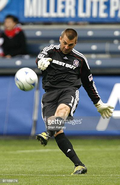 Goalkeeper Jon Busch of the Chicago Fire kicks the ball during the second half against the Columbus Crew at Toyota Park on September 20 2009 in...