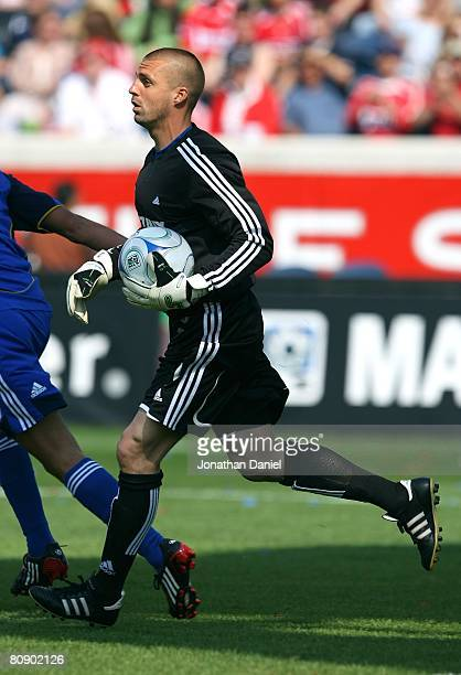 Goalkeeper Jon Busch of the Chicago Fire looks to put the ball into play against the Kansas City Wizards during their MLS match on April 20 2008 at...