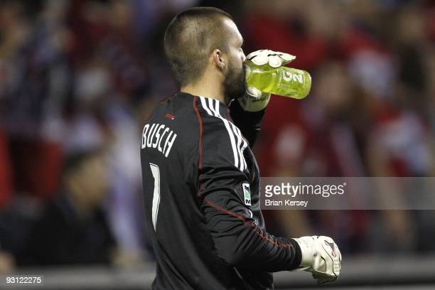Goalkeeper Jon Busch of the Chicago Fire takes a sip of Gatorade before the shootout against Real Salt Lake during the MLS Eastern Conference...
