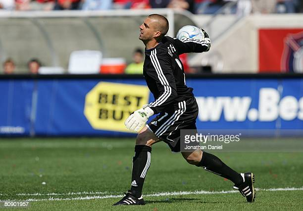 Goalkeeper Jon Busch of the Chicago Fire throws the ball into play against the Kansas City Wizards during their MLS match on April 20 2008 at Toyota...