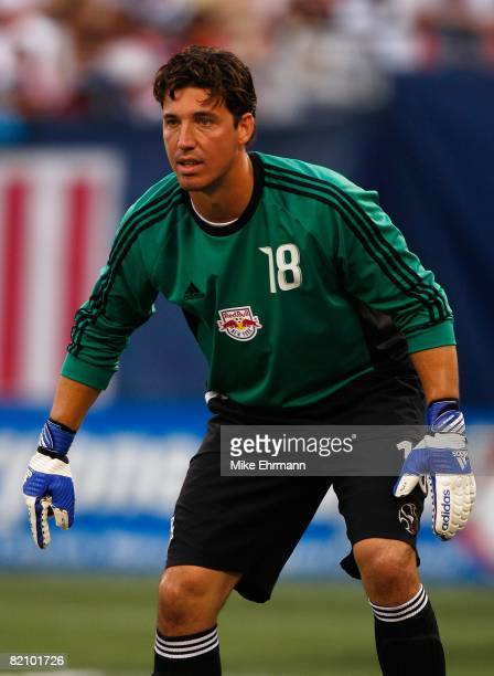 Goalkeeper Jon Conway of the New York Red Bulls defends the net against the LA Galaxy at Giants Stadium in the Meadowlands on July 19, 2008 in East...