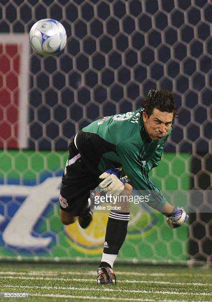 Goalkeeper Jon Conway of the New York Red Bulls throws the ball down field against the Colorado Rapids at Giants Stadium in the Meadowlands on...