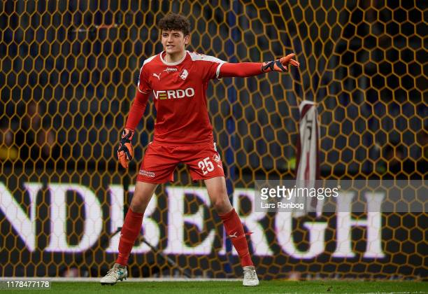Goalkeeper Jonas Dakir of Randers FC gestures during the Danish 3F Superliga match between Brondby IF and Randers FC at Brondby on October 27 2019 in...