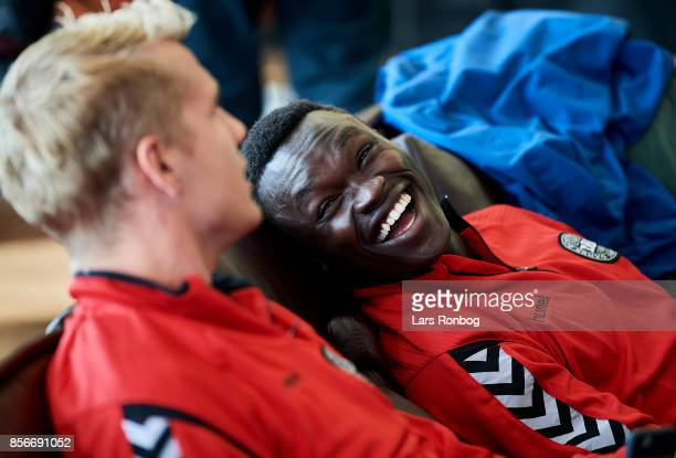 Goalkeeper Jonas Lossl and Pione Sisto sharing a joke in the lobby of Clarion Hotel prior to the Denmark training Session at Dragor Stadion on...
