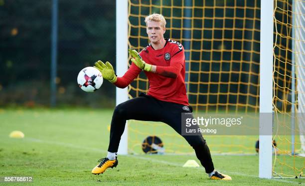 Goalkeeper Jonas Lossl in action during the Denmark training Session at Dragor Stadion on October 2 2017 in Dragor Denmark