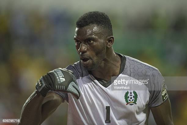Goalkeeper JONAS MENDES of Guinea Bissau during the Group A match between Cameroon and Guinea Bissau at Stade de L'Amitie on January 18 2017 in...