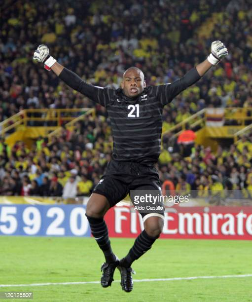 Goalkeeper Jonathan Ligali from France celebrates a scored goal against Colombia as part a match of group A of Sub20 World Cup 2011 at Nemesio...