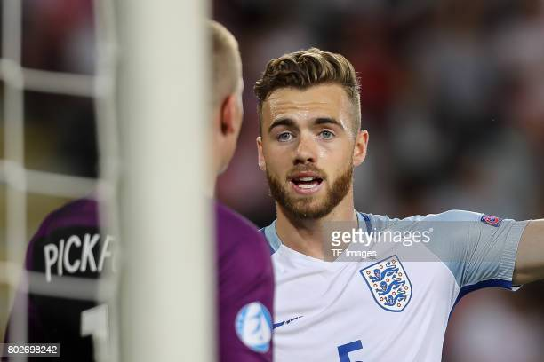 Goalkeeper Jordan Pickford of England Calum Chambers of England during the UEFA European Under21 Championship Group A match between England and...