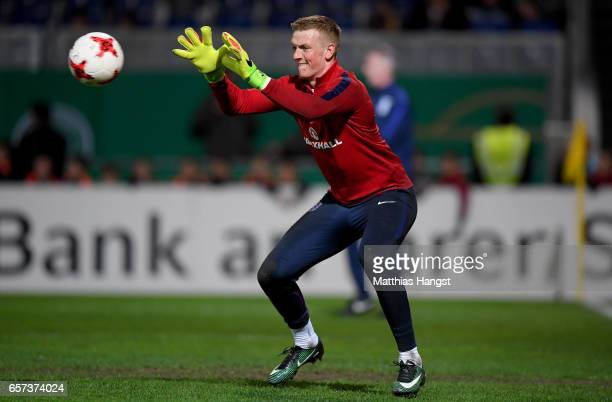 Goalkeeper Jordan Pickford of England catches the ball prior to the U21 international friendly match between Germany and England at BRITAArena on...