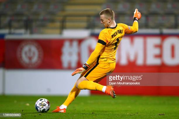 Goalkeeper, Jordan Pickford of England in action during the UEFA Nations League group stage match between Belgium and England at King Power at Den...