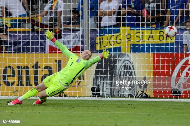 Goalkeeper Jordan Pickford of England in action during the UEFA European Under21 Championship Semi Final match between England and Germany at Tychy...