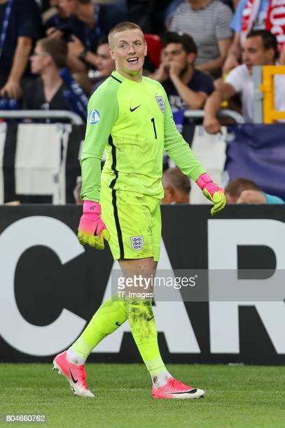 Goalkeeper Jordan Pickford of England looks on during the UEFA European Under21 Championship Semi Final match between England and Germany at Tychy...