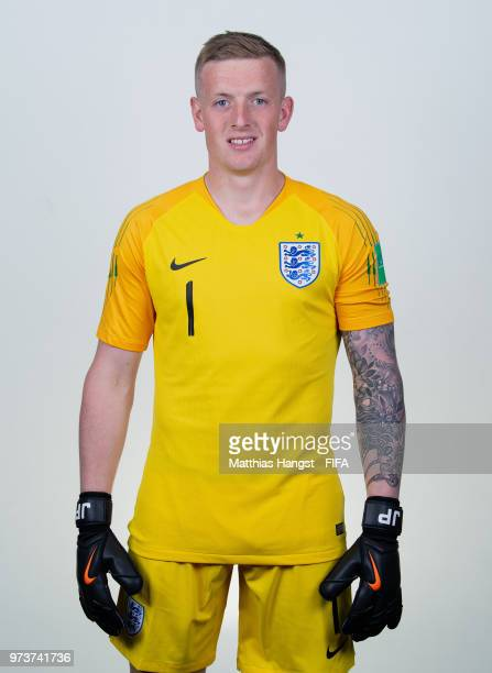 Goalkeeper Jordan Pickford of England poses for a portrait during the official FIFA World Cup 2018 portrait session at on June 13 2018 in Saint...