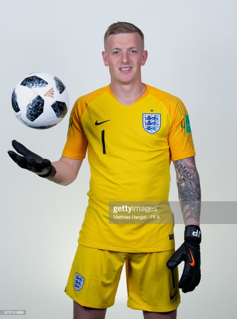 Goalkeeper Jordan Pickford of England poses for a portrait during the official FIFA World Cup 2018 portrait session at on June 13, 2018 in Saint Petersburg, Russia.