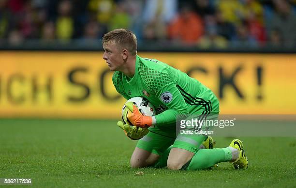 goalkeeper Jordan Pickford of Sunderland with a save during the friendly match between AFC Sunderland v Borussia Dortmund at Cashpoint Arena on...
