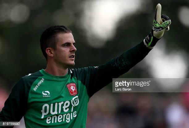 Goalkeeper Jorn Brondeel of Twente gestures during a preseason friendly match between FC Twente and Everton FC at Sportpark de Stockakker on July 19...