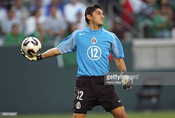 Goalkeeper Jose De Jesue Corona of Mexico throws the ball into play against South Africa during the CONCACAF Gold Cup 2005 at the Home Depot Center...