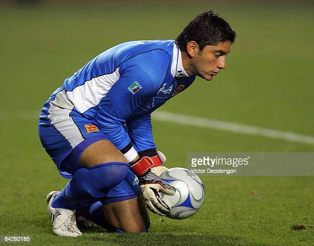 Goalkeeper Jose de Jesus Corona of UAG Tecos makes a save during their InterLiga match against Toluca at The Home Depot Center on January 8 2009 in...