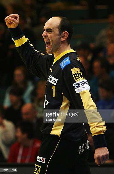Goalkeeper Jose Hombrados of Spain celebrates after a save during the Men's Handball European Championship main round Group II match between Spain...
