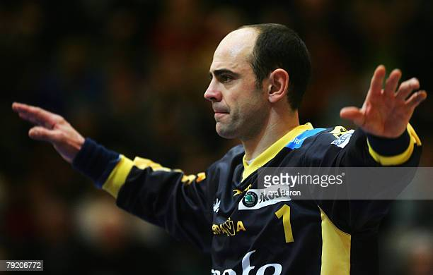 Goalkeeper Jose Hombrados of Spain in action during the Men's Handball European Championship main round Group II match between Spain and Sweden at...