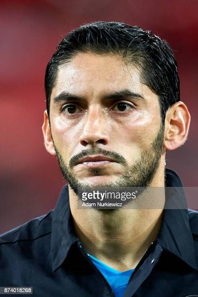 Goalkeeper Jose Jesus Corona of Mexico looks forward while national anthem during the International Friendly match between Poland and Mexico at...